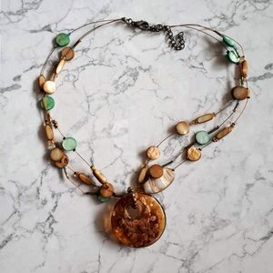 Gorgeous layered necklace with massive pendant